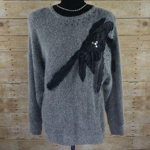 Vintage Embellished Silk & Angora Blend Sweater